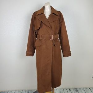 Gap Vegan Faux Suede Belted Trench Duster Coat M